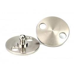 Boule plaque ronde à riveter/visser, Inox